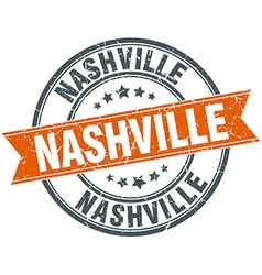 Nashville red round grunge vintage ribbon stamp vector