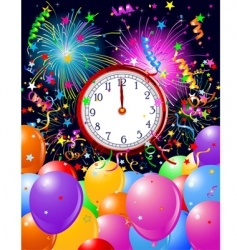 new year midnight clock background vector image