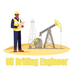 Oil drilling engineer semi flat rgb color vector
