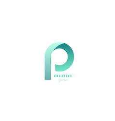 P green pastel gradient alphabet letter logo icon vector