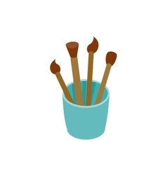 Paint brushes in a glass icon isometric 3d style vector image