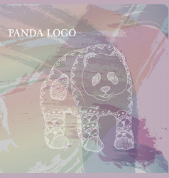painted white pandas on the background of vector image