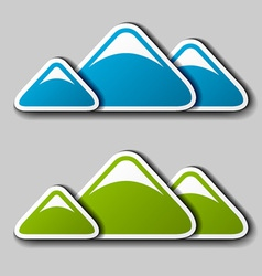 paper winter spring mountains symbols vector image
