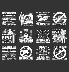 Pest control disinsection company service icons vector