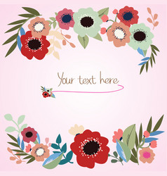 pink sweet theme wedding card vector image