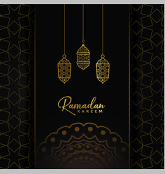 Ramadan kareem card design with hanging golden vector