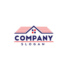 Real estate logo with usa colors vector