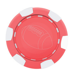 red casino poker chip with rugby ball isolated on vector image