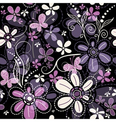 Repeating black floral pattern vector image