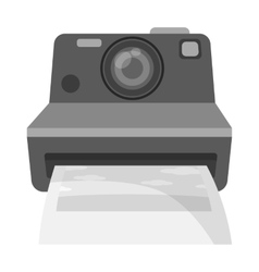 Retro photocamera icon in monochrome style vector