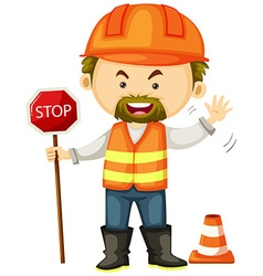 Road worker with stop sign vector image vector image