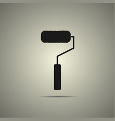 roller brush icon in flat black and white style vector image