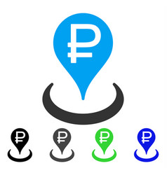 Rouble bank location flat icon vector