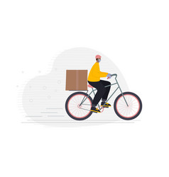 safe delivery man courier drive bicycle character vector image