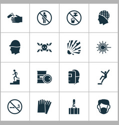 safety icons set with light high voltage hand vector image