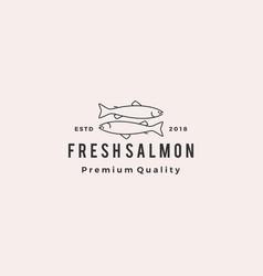 salmon fish logo seafood retro hipster vintage vector image