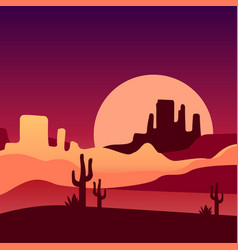Sandy desert with cacti and rocky mountains vector
