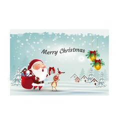 Santa clausreindeer with ornament merry christmas vector