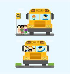 School bus kids transport vector