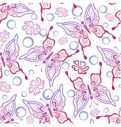 seamless butterflies contours vector image