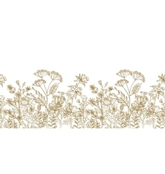 Seamless floral border with black white vector