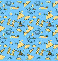 seamless linear pattern with icons of city vector image