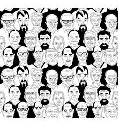 Senior mens head portraits grunge line drawing vector