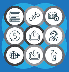 Set 9 transportation icons includes drink cup vector