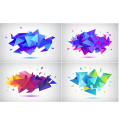 set abstract facet 3d shapes geometric vector image