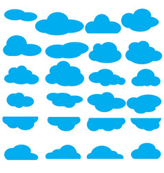 Set clouds flat icon collection vector