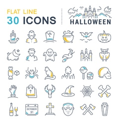 Set Flat Line Icons Halloween vector