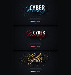 set of cyber monday sale calligraphic banners vector image