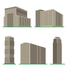 Set of five modern high-rise building vector