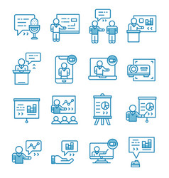 Set presentation seminar icons with outline vector