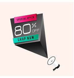Special offer 80 off shop now megaphone backgroun vector