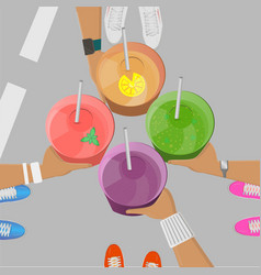 sport girls holging smoothies in hands top view vector image