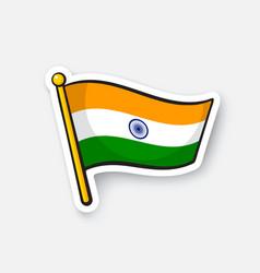 Sticker flag india on flagstaff vector
