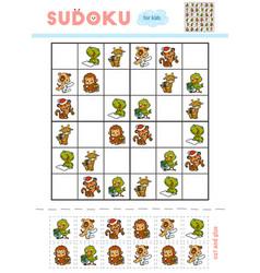 sudoku for children education game set cartoon vector image