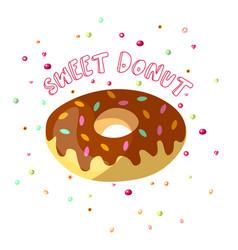 sweet cartoon chocolate donut vector image