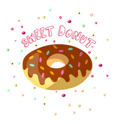 Sweet cartoon chocolate donut with vector