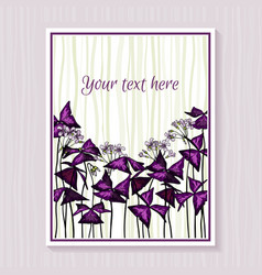 template design with oxalis triangularis leaves vector image