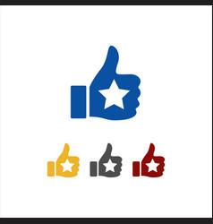 thumbs up star sign logo symbol good rating vector image