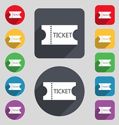 ticket icon sign A set of 12 colored buttons and a vector image