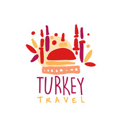Travel to turkey logo with traditional mosque vector