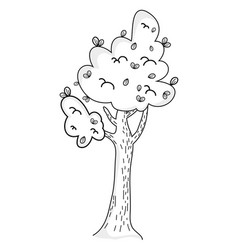 tree drawing cartoon vector image