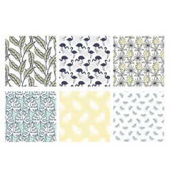 Tropical exotic seamless patterns collection vector