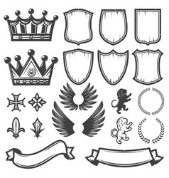 Vintage monochrome heraldic elements collection vector