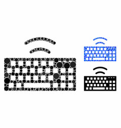 Wireless keyboard mosaic icon round dots vector