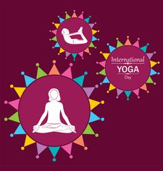 Woman doing yogasan for international yoga day vector
