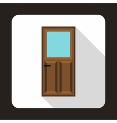 Wooden door with glass icon in flat style vector image